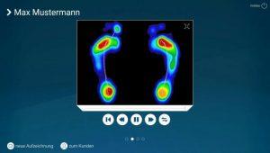 Druckverteilung des Fußes bei der Laufanalyse